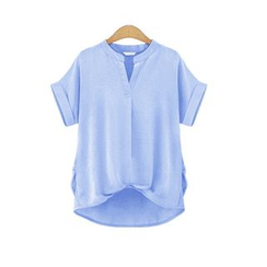 GRACI - Split-neck Linen Cotton Short-Sleeve Top