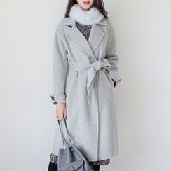 WITH IPUN - Wool Blend Coat With Sash