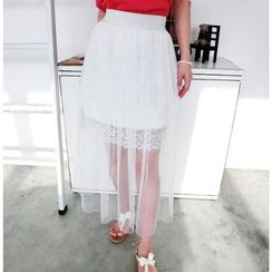 59 Seconds - Tulle Overlay Lace Skirt