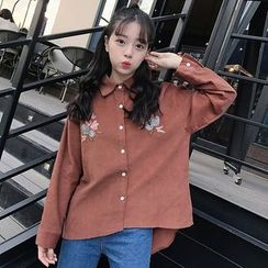 Dute - Flower Embroidered Corduroy Shirt