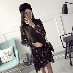 Qimi - Set: Floral Print Long-Sleeve Dress + Knit Vest