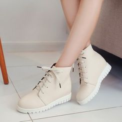 Pastel Pairs - Hidden Wedge Lace Up Ankle Boots