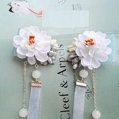 Kiyoha - Ribbon Fringe Flower Single Hair Clip