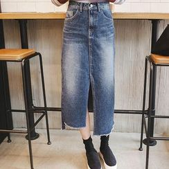 mimi&didi - Asymmetric Slit-Hem Long Denim Skirt