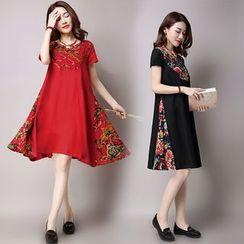 Salisha - Floral Panel Linen Cotton Short-Sleeve Dress