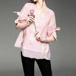 Alaroo - 刺繡中袖襯衫