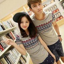 Evolu - Short-Sleeve Print Couple T-Shirt