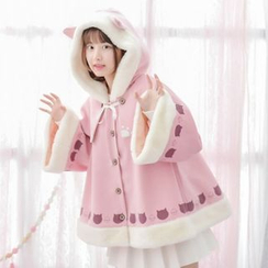 Moriville - Furry Trim Cat Trim Hooded Cape Jacket