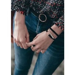 Chlo.D.Manon - Set of 3: Braided / Chain / Hoop Faux-Leather Bracelet