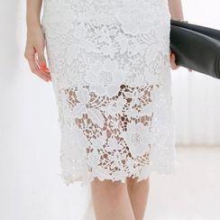 Tokyo Fashion - Elastic-Waist Floral Lace Midi Skirt