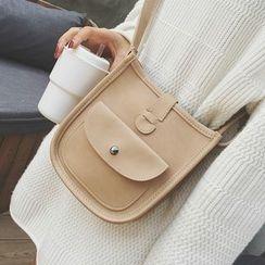 Nautilus Bags - Plain Faux Leather Shoulder Bag