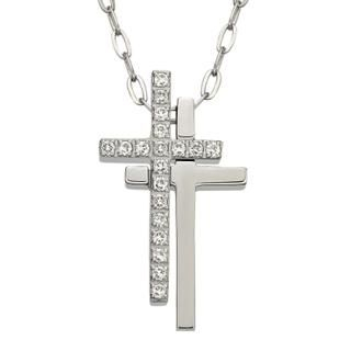 Kenny & co. - Double cross with crystals necklace