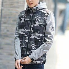 Evzen - Camo Panel Hooded Jacket