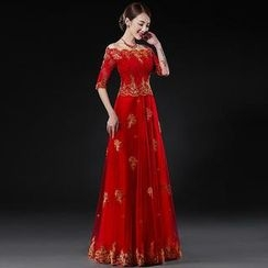 Royal Style - Sleeved A-Line Evening Gown