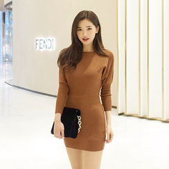 chuu - Dolman-Sleeve Knit Bodycon Dress