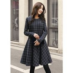 J-ANN - Wool Blend Check A-Line Dress