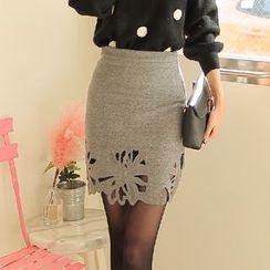 Cherryville - Cutout Mini Pencil Skirt