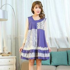Blue Hat - Lace-Panel Sleeveless Dress
