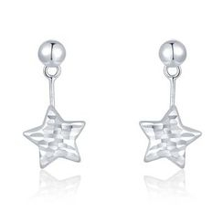 MaBelle - 14K White Gold Diamond Cut 2-Way Dangling Star Earrings