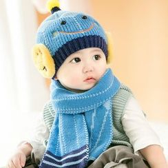 POMME - Set: Baby Smiley Beanie + Scarf