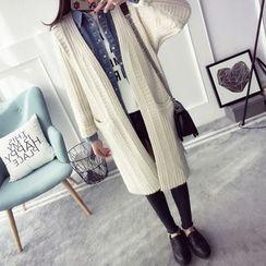 Qimi - Plain Long Cable Knit Cardigan