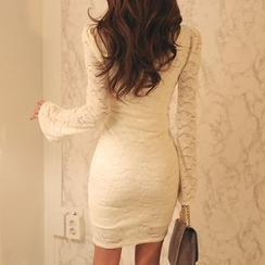 DABAGIRL - V-Neck Wrap-Front Lace Bodycon Dress