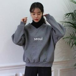 Dute - Lettering Mock Two-Piece Pullover