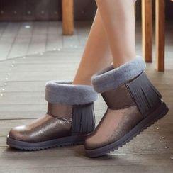 Renben - Fringe Fleece Snow Short Boots