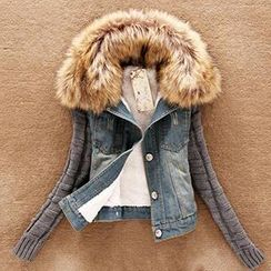 Quintess - Faux-Fur Trim Denim Jacket