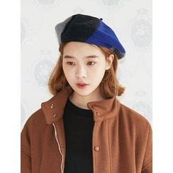 FROMBEGINNING - Color-Block Wool Blend Beret