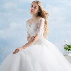 MSSBridal - Elbow-Sleeve Ball Gown Wedding Dress