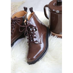 GOROKE - Lace-Up Patent Military Ankle Boots