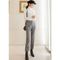 Chlo.D.Manon - Mélange Wool Blend Straight-Cut Dress Pants