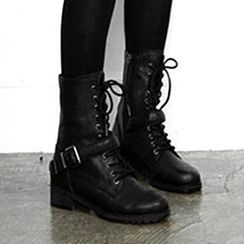 Mancienne - Buckled Lace-Up Short Boots