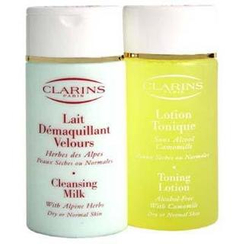 Clarins - Cleansing Coffret : Cleansing Milk 200ml + Toning Lotion 200ml N/D Skin