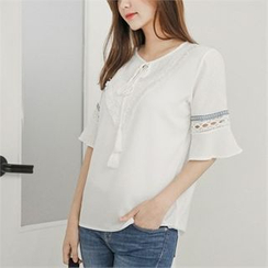 Styleberry - Tie-Front Lace-Trim Top