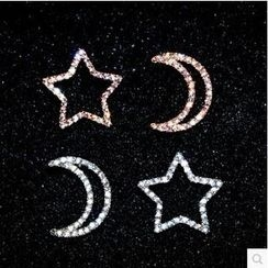 Nanazi Jewelry - Sterling Silver Crystal Star & Moon Earrings