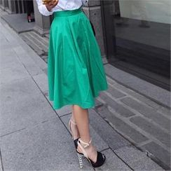 midnightCOCO - Zip-Back Colored Midi Skirt