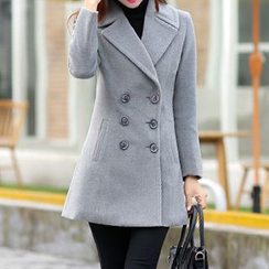 Hazie - Notched-Lapel Double-Breasted Coat