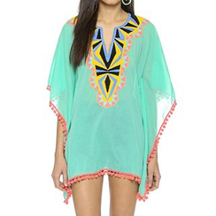 Sunset Hours - Embroidered Split-neck Chiffon Cover-up