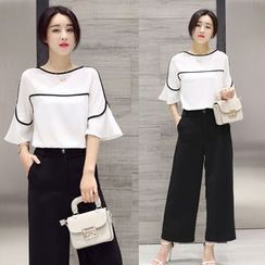 Ashlee - Set: Contrast Trim Elbow Sleeve Blouse + Cropped Wide Leg Pants