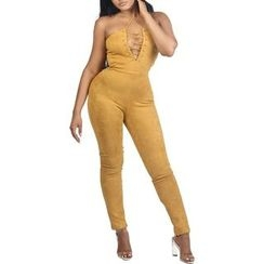 Merma - Deep V Lace Up Strapless Jumpsuit