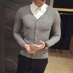 Maluda - 純色飾扣針織開衫