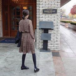 mimi&didi - Frill-Neck Gathered-Waist Patterned Dress