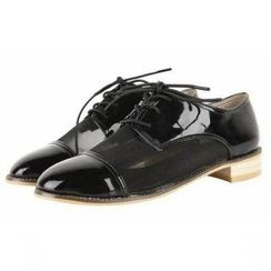 Mancienne - Mesh-Panel Patent Oxford Flats