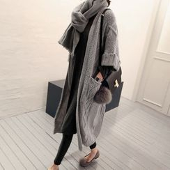 NANING9 - 3/4-Sleeve Cable-Knit Cardigan