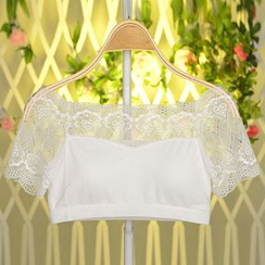 Ladie's Den - Short-Sleeve Lace Bra Top