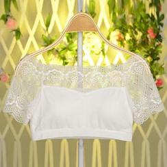 Ladie's Den - 短袖蕾丝文胸上衣