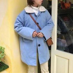 monroll - Fleece Collar Long Woolen Coat