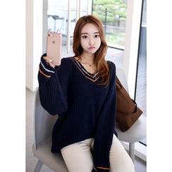 DEEPNY - Contrast-Trim Frayed Long Sweater
